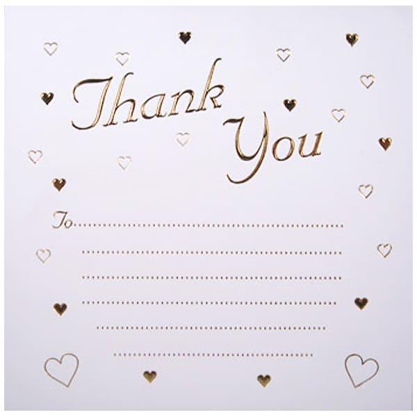 Cartas de Agradecimiento Corazones Dorados en Relevieve Con Sobres - Paquete de 10