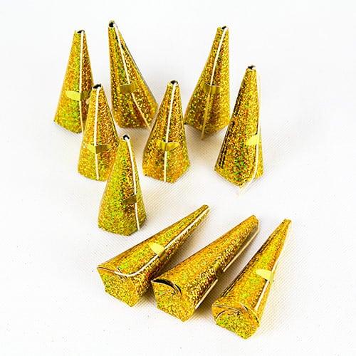 Poppers de Fiesta Conos Dorados Holográficos - Paquete de 10