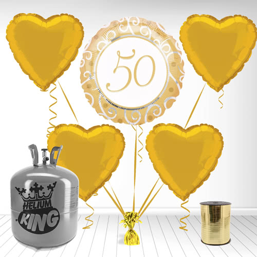 Paquete de gas de helio de oro 50º