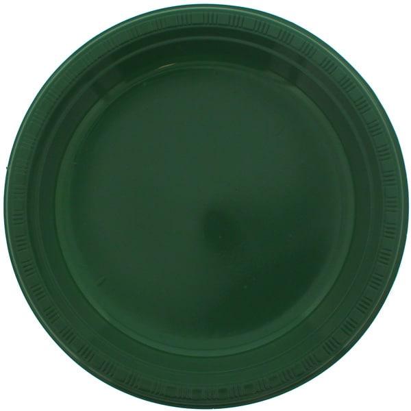 Platos De Plástico Redondos Verdes 23Cm - Paquete De 20
