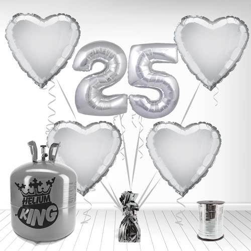 Feliz 25º Aniversario Supershape Globo Paquete de Gas Helio