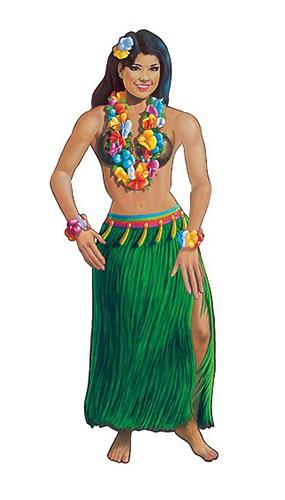 Figura De Cartón Articulada de Bailarina De Hula Hawaiana - 137cm