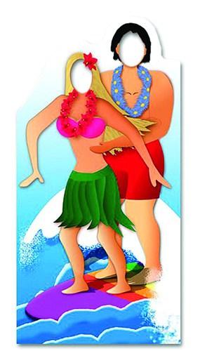 Pareja de Hawai Surf Stand en Figura de Cartón