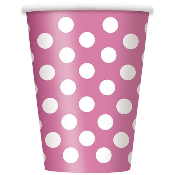 Vasos De Papel Con Lunares Decorativos Rosa Intenso 354Ml - Paquete De 6