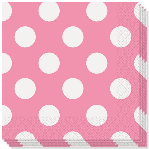 Hot Pink Dots decorativo 2 Capas Almuerzo Servilletas - 13 pulgadas / 33 cm - Paquete de 16