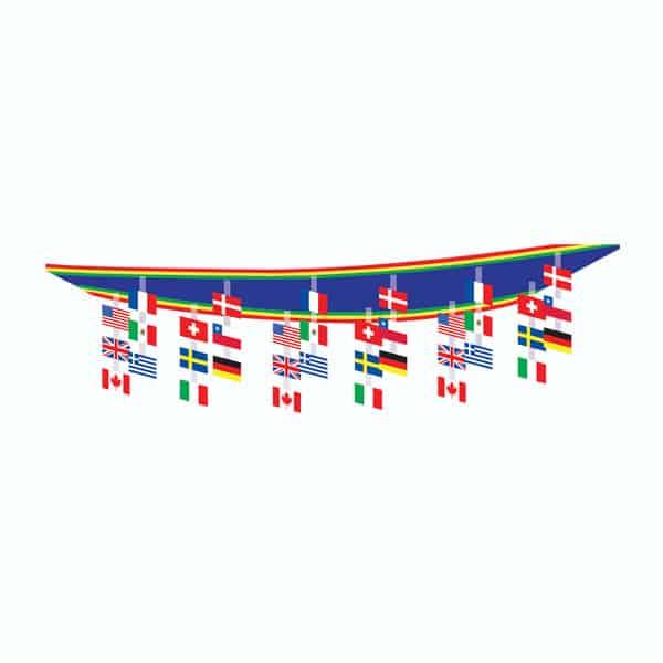 Banderas internacionales para decoraci??n de techos - 3,65 mts de largo