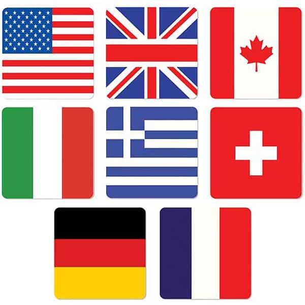 Posavasos de Banderas Internacionales - Paquete de 8