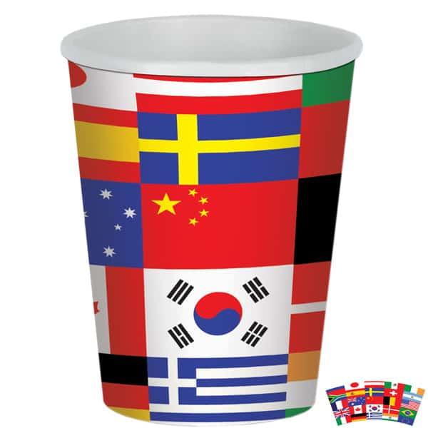 Banderas Internacionales Tema Taza De Papel 266Ml