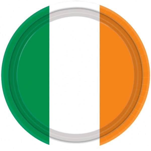 Bandera de Irlanda Fiesta Plato de Papel 23 cm - Unidad