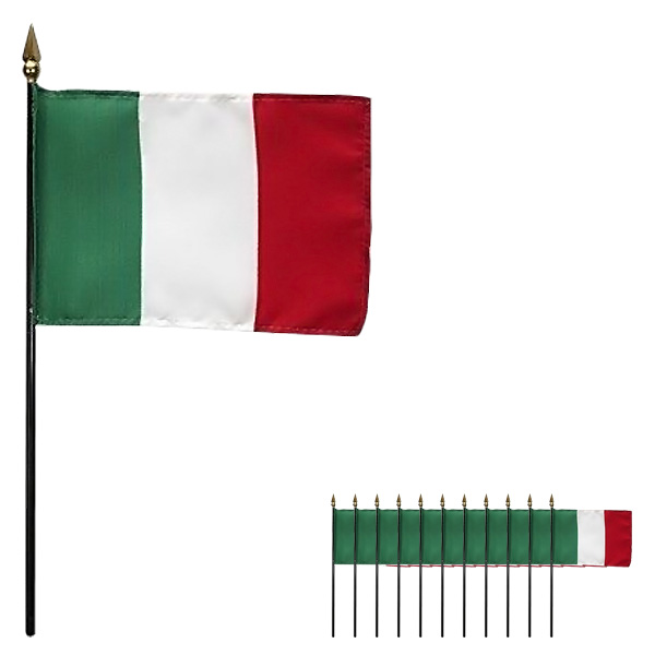 Italia Celebró a Mano Bandera de Tela 15 x 10 cm - Pack de 12
