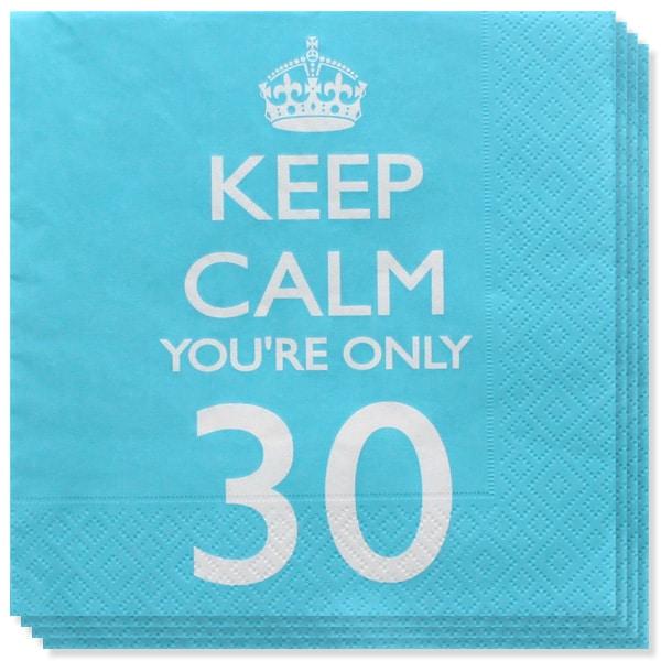 Keep Calm Tema Edad 30 Servilletas de Papel - Pack de 20