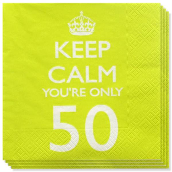 Keep Calm Tema Edad 50 Servilletas de Papel - Pack de 20
