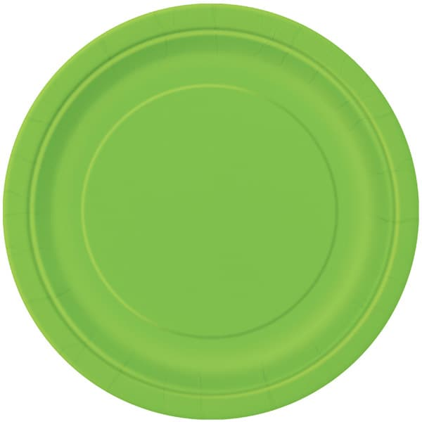 Plato De Papel Redondo Verde Lima 22Cm
