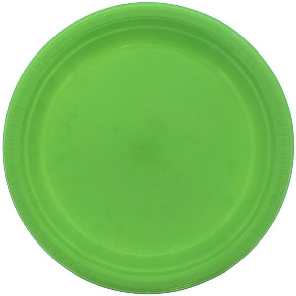 Plato De Plástico Verde Lima 23cm - Unidad
