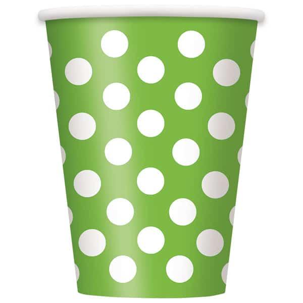 Vasos De Papel Con Lunares Decorativos Verde Lima 354Ml - Paquete De 6