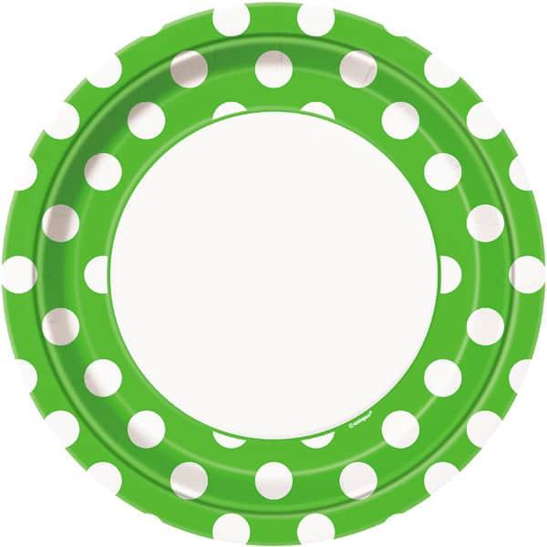 Platos De Papel Con Lunares Decorativos Verde Lima 22Cm - Paquete De 8