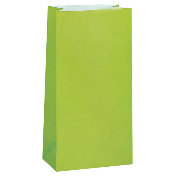 Bolsa de Papel Para Fiesta Verde Lima- Paquete de 12