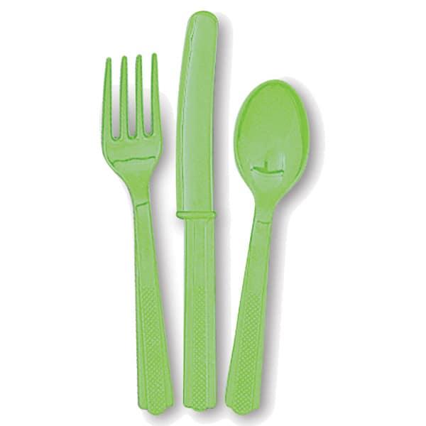 Juego De Cubiertos De Plástico Verde Lima (6 Tenedores, 6 Cuchillos Y 6 Cucharas)