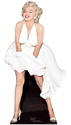 Marilyn Monroe Vestido Blanco Voladura de Color Tamaño real Figura de cartón