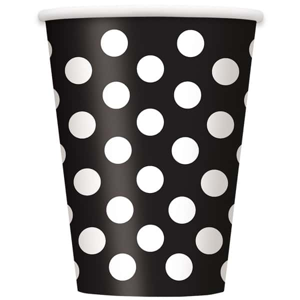 Medianoche Negro Puntos Decorativos Vaso De Papel 355Ml