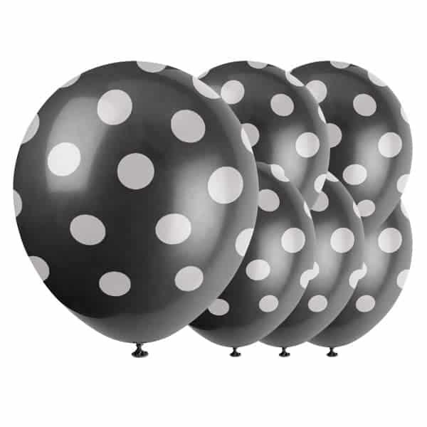 Mediodía Negra Puntos Decorativos Globos De Látex Biodegradables - 12 Pulgadas / 30 Cm - Paquete De 6