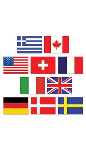 Bandera Internacionales Recortes Pequeñas 11 x 8 cm - Pack de 10