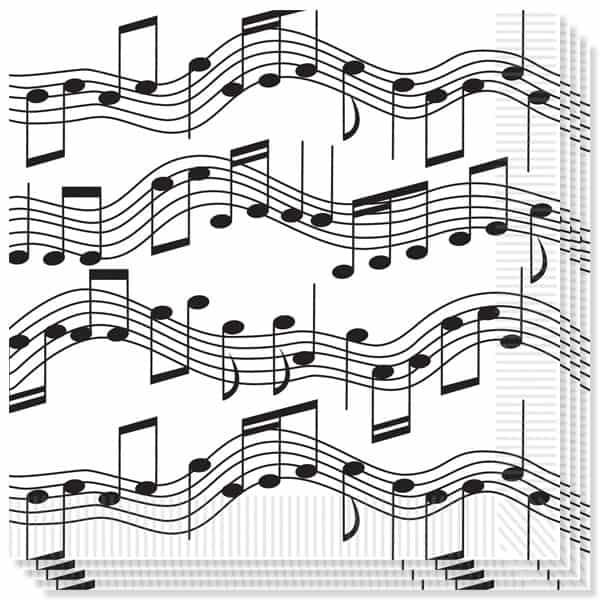 Notas Musicales Tema Servilletas - 33cms - 2 capas - Pack de 16