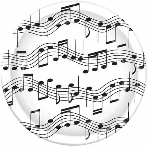 Notas Musicales Fiesta Temática 23 cm Plato de Papel - Unidad