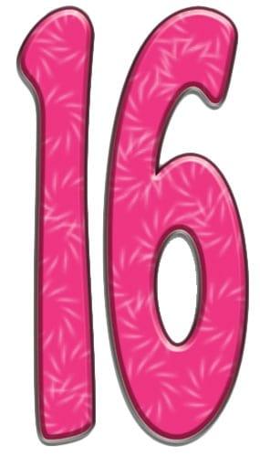 Números 16 - Figura de cartón a tamaño real