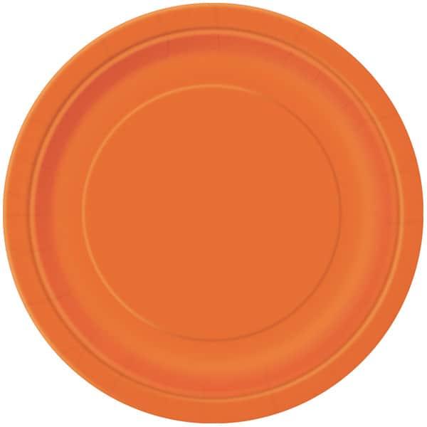 Platos De Papel Redondos Naranjas 22Cm - Paquete De 16