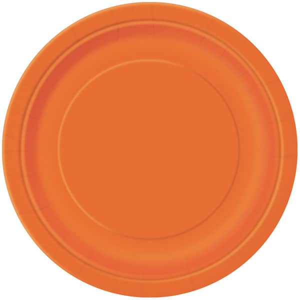 Plato De Papel Naranja Redondo 22Cm