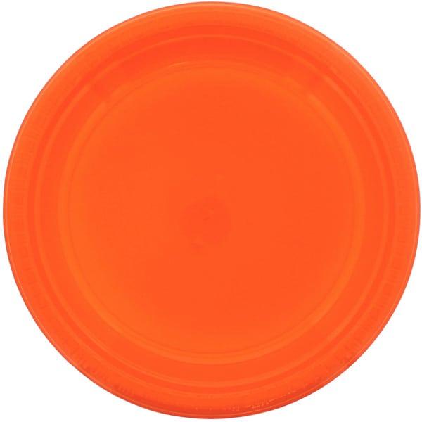 Platos Redondos De Plástico Naranja 23Cm - Paquete De 20