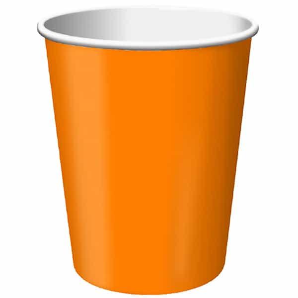 Vasos De Papel Naranja 270Ml - Paquete De 14