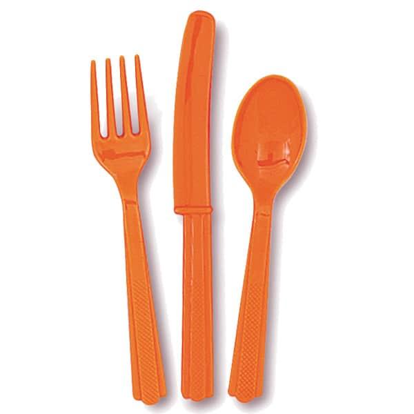 Juego De Cubiertos De Plástico Naranjas ( 6 Tenedores, 6 Cuchillos Y 8 Cucharas)