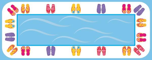 Cartel personalizado mediano Flip Flop Party Happy Birthday Design - 6 pies x 2.25 pies