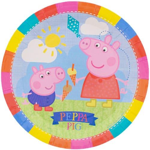Peppa Pig Tema 23 cm de Plato de Papel - Unidad