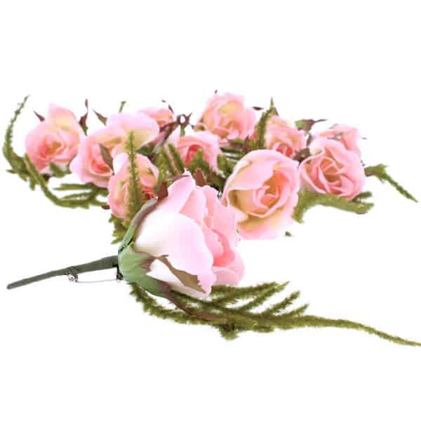 Ojal en forma de Rosa Rosada y Marfil - Paquete de 12