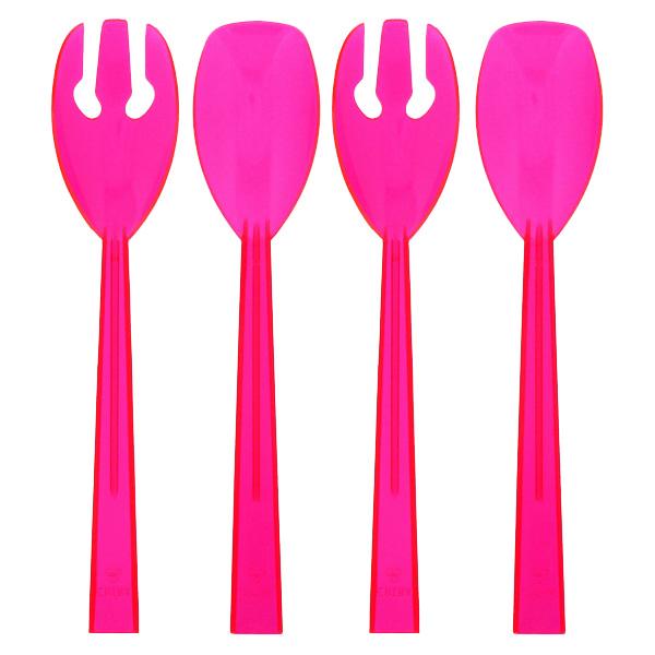 Rosa Neón Los Brights de Plástico que Sirve Cucharas y Tenedores - Pack de 4