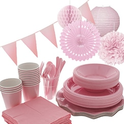 Suministros de fiesta rosa