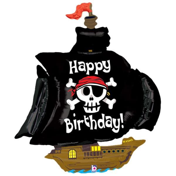 Barco Pirata Feliz Cumpleaños Globo Gigante De Papel De Helio 117 Cm / 46 In