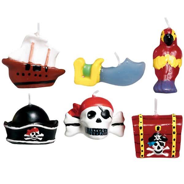 Velas pequeño moldeado en forma de Tesoro de Piratas - Paquete de 6