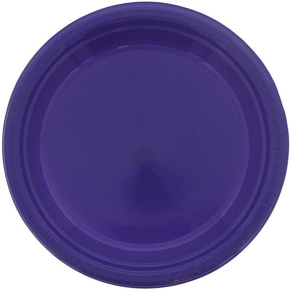 Platos Redondos De Plástico Violeta 23Cm - Paquete De 20