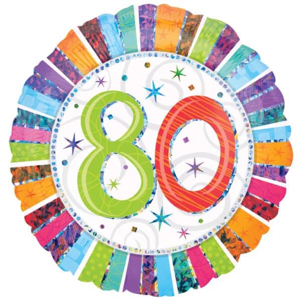 Radiante de Cumpleaños 80a Rodonda Globo de Foil 46cm