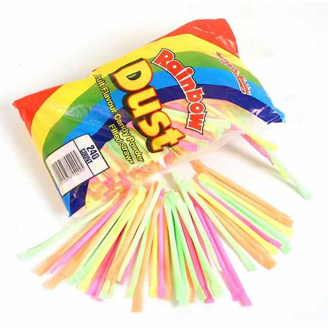 Los Colores Variados De Polvo Arco Iris Dulces Pajas - Paquete De 10