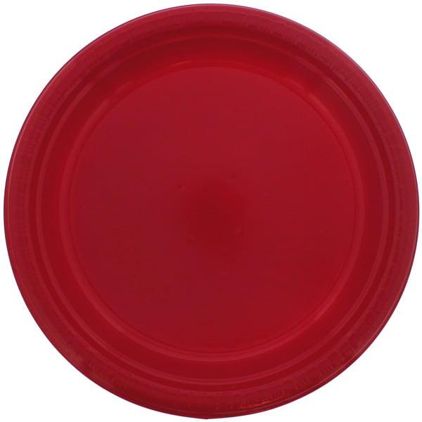 Platos Redondos De Plástico Rojo 23Cm - Paquete De 20