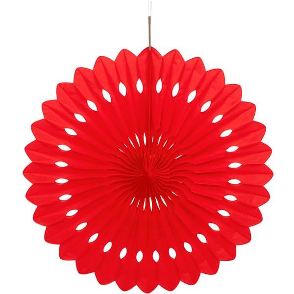 Abanico Rojo Nido de Abeja Colgante Decorativo