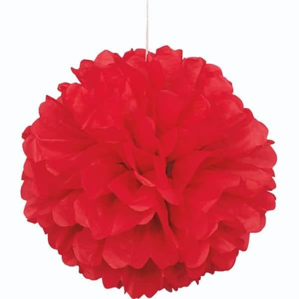 Rojo Colgante Decorativo de Panal Bola de Puff