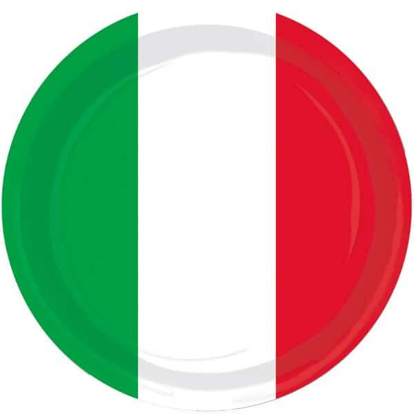Rojo Blanco y Verde Tema 23 cmes Plato de Papel - Unidad