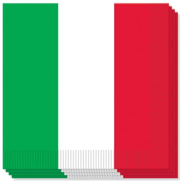 Rojo Blanco y Verde Tema Servilletas - 33cms - 2 capas - Pack de 16