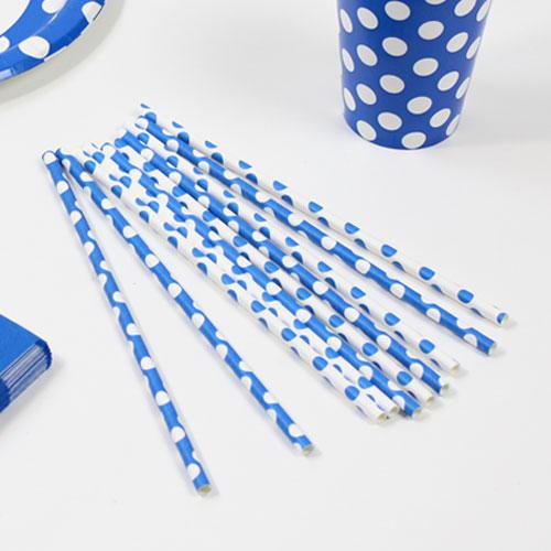 Azul Real Puntos Decorativos Pajitas de Papel